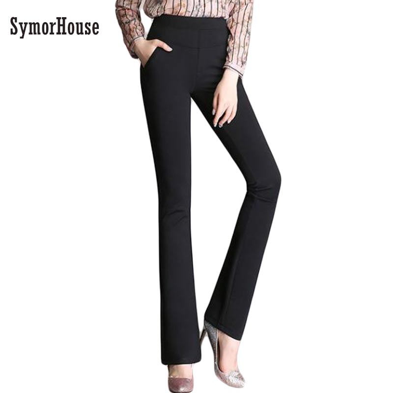 Brand High Quality Womens Flare Pants Ladies Elegant High Waist Elastic Suits Pants Fashion Long Trousers Plus Big Size 3XL 4XL