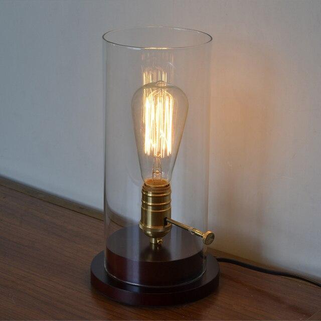 Loft Vintage Industrial  Edison Desk Wood Clear Glass Copper Base Table Lamp For Cafe Bar Bedroom
