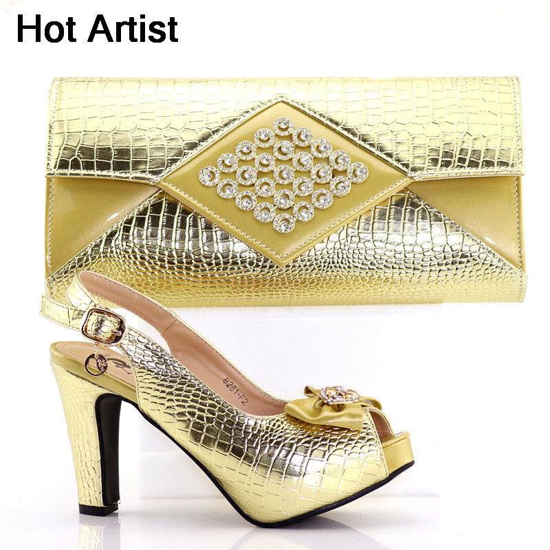 цена на Hot Artist New Gold Color Italian Shoes And Bags To Match Hot Selling Summer PU High Heels Shoes And Bag Set For Party TX-F2