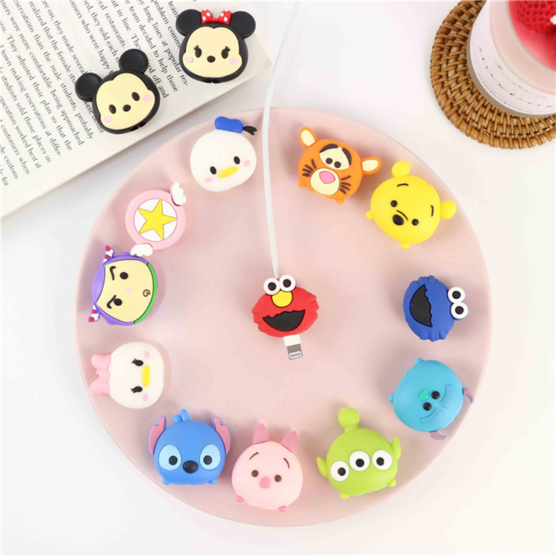 Universal Lovely Charger Phone  Socket Holder Cartoon Protector Cable Cord Saver Sleeve Cover For IPhone 6S 7 8 Plus X Xs MAX XR
