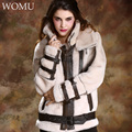 Promote Matching Couple Coat Lover Shearling Black Beige Wide Waist Thicken Merino Sheepskin Fur Wool Jackets Warm Fur Coats