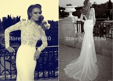 free shipping robe de soiree 2014 new fashionable sexy backless long sleeve bride vestido noiva romantic lace wedding dresses