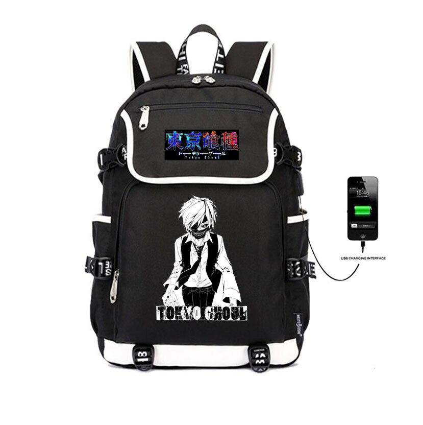 Japon anime Tokyo Ghoul sac à dos impression USB chargement voyage sac à dos Kaneki Ken sacs à bandoulière femmes sac à dos pour ordinateur portable pour homme