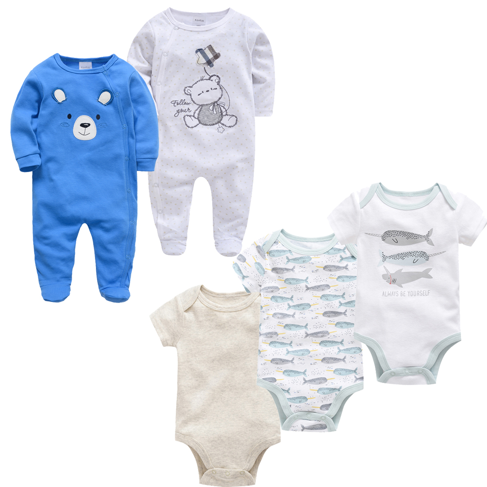 2019 Brand Baby   Rompers   5 pcs/set Boys Clothes Set Short Sleeve Summer Autumn Newborn Jumpsuit ropa bebe 0-3 Months Clothing