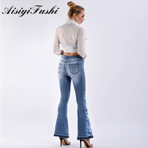 Image 2 - AISIYIFUSHI American Blue Women Bell Bottom Jeans Embroider Floral Push Up Denim Pants for Women Jeans Boot Cut Flared Jeans 4XL