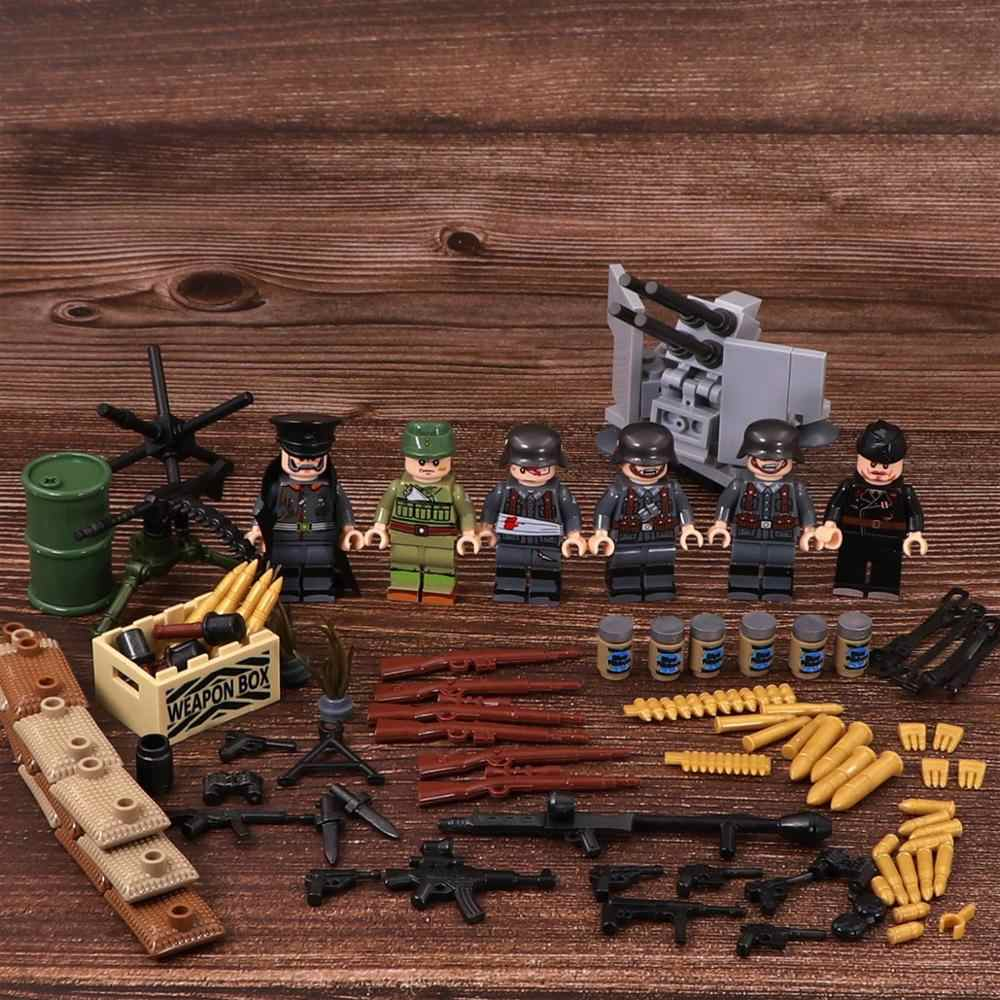 6pcs Soldiers Army Air Defense Gun Weapons Brinquedos Playmobil City Military Mini Figures Building Block Brick Original Toys