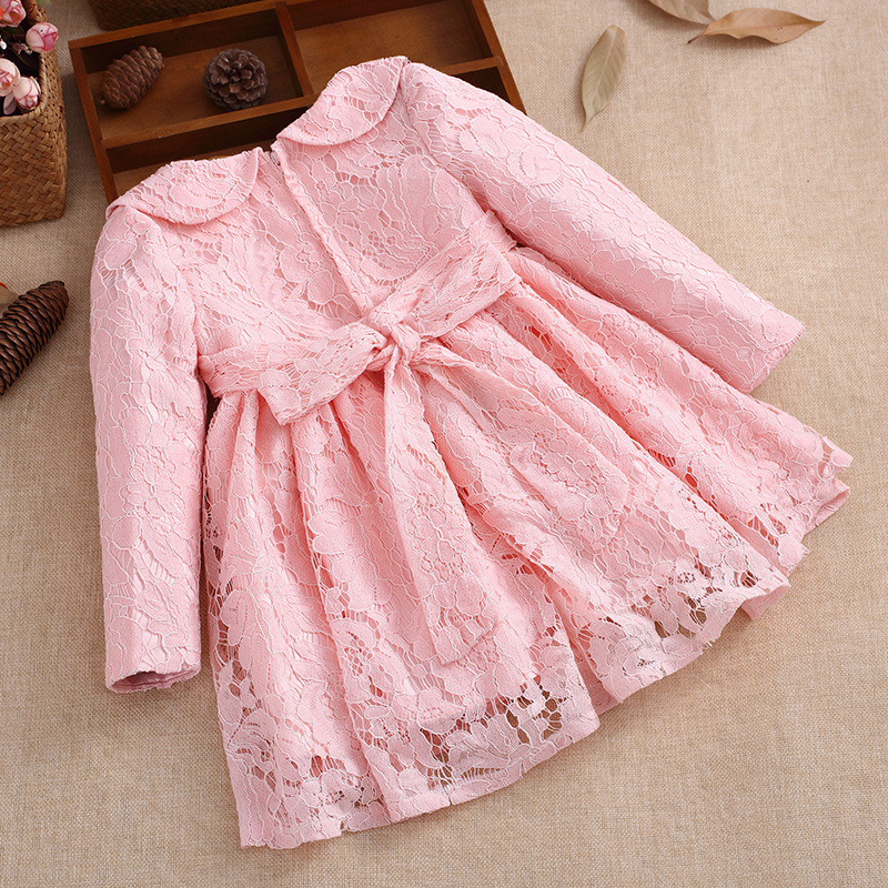 Long Sleeves Kids Girls Dress 2018 New Spring Red Pink Casual Princess A-line Knee-length Solid Lace Baby Girl Dresses 4ds264 hot sale new autumn children straight dress baby girls dresses kids striped knee length long sleeved princess casual dress party