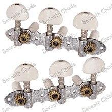 A Set White Pearl Button Classical Guitar String Tuners Tuning Peg Machine Heads  Chrome