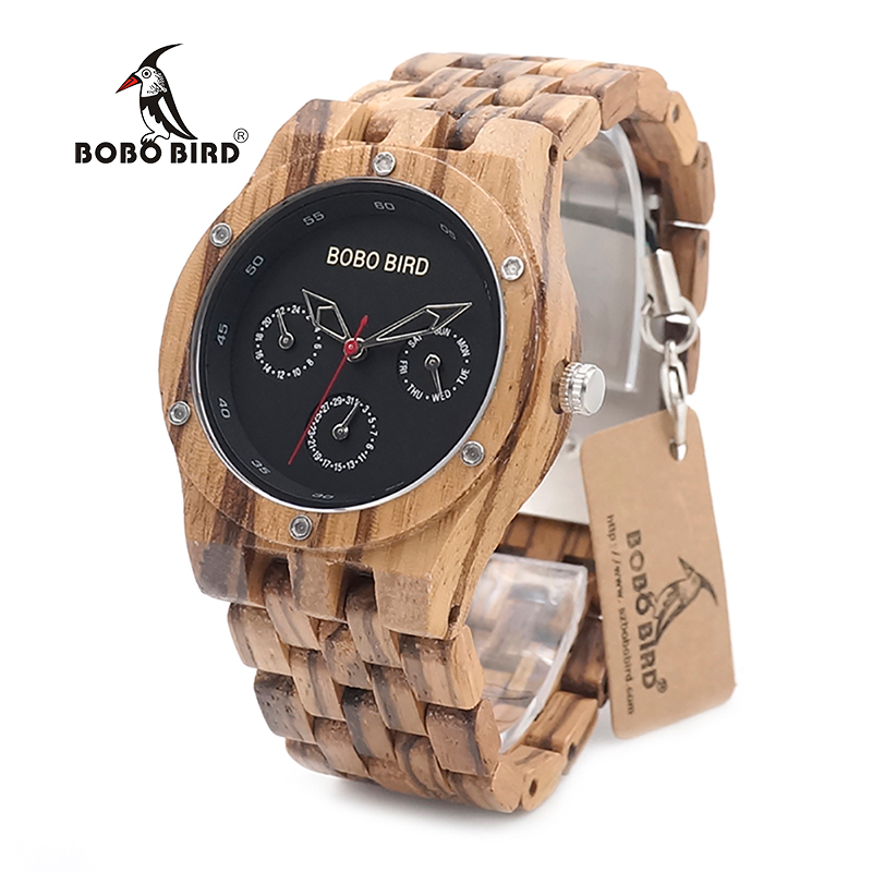 bobobird zebra men leather quartz genuine bird watches wristwatch pattern band watch relogio wooden bobo masculino