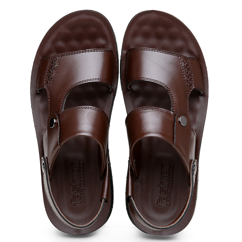 Men Cow Leather Sandals Outdoor 2019 Summer Handmade Men Shoes Men Breathable Casual Shoes Footwear Walking Sandals in Men 39 s Sandals from Shoes