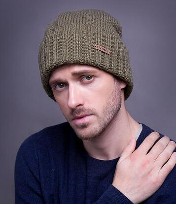 Male winter hat outdoor thermal knitted Beanies winter hat knitted male sports bag winter hat cold cap