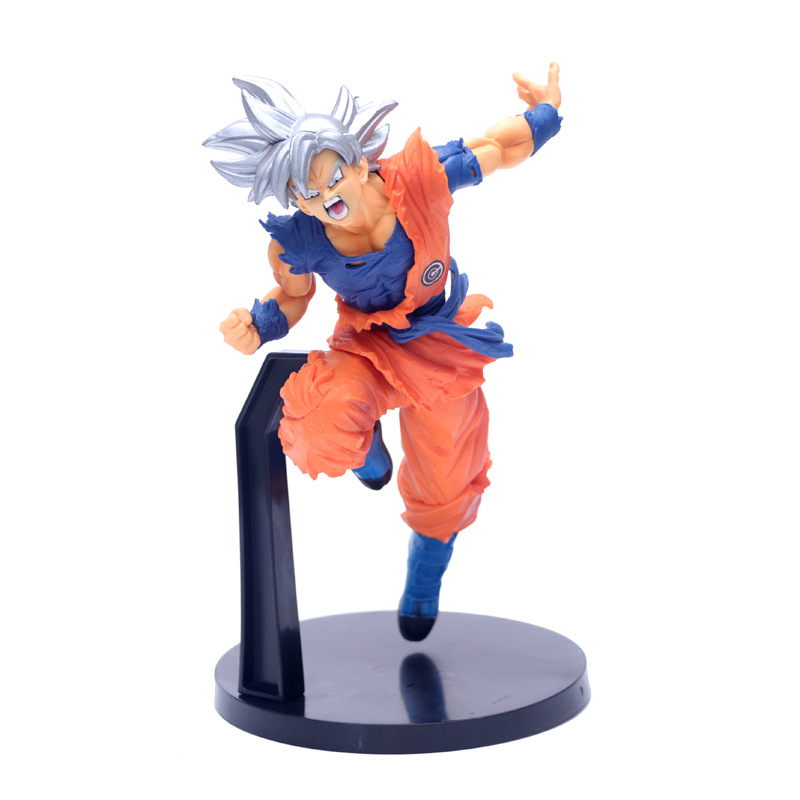 23cm Dragon Ball Super Saiyan Son Goku Ultra Instinct Coming Jump Up Silver Hair Holder,Decoration Anime Model PVC Toys Gifts image