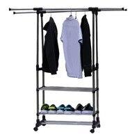 Adjustable Telescopic Rolling Clothing Garment shoe Rack Portable Hanger On Wheels Heavy Duty Double Rail storage orginazer rack