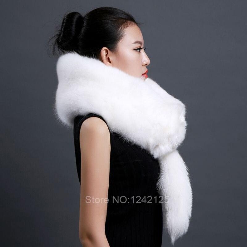 Otoño invierno cálido padre niño niños señora cuero completo zorro bufanda  cuello chal blanco real piel de zorro con cola de cabeza en Las mujeres  bufandas ... d9a874b9118