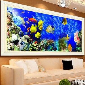Image 3 - Bordado de diamantes de bricolaje, Diamante redondo paisaje de peces del océano Diamante de imitación completo pintura de diamantes 5D punto de cruz, costura