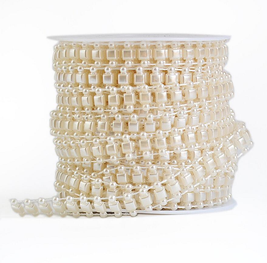 1 Spool Square Shape ABS Pearl Garland Cake Banding Trim Ribbon For Sewing Wedding Party Centerpiece Decoration