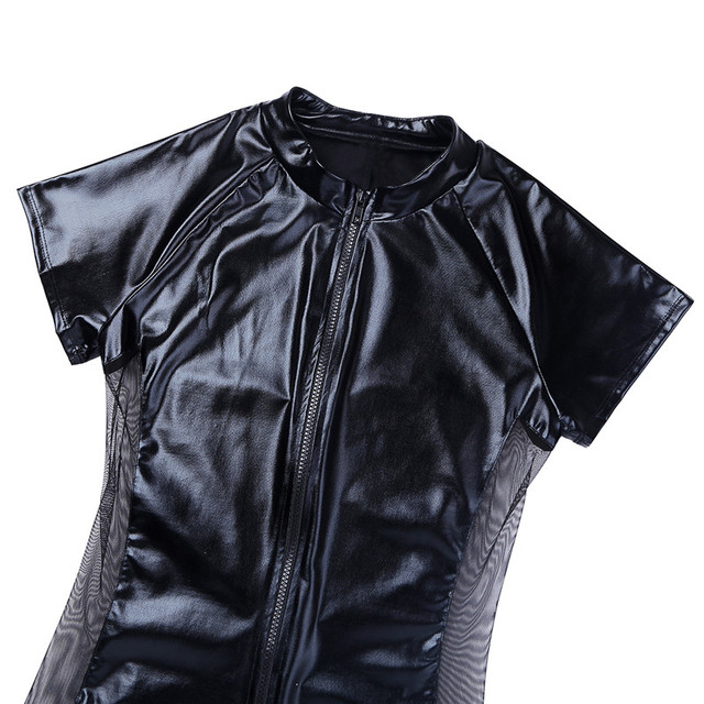 TiaoBug combinaison de justaucorps une pièce en cuir verni noir TiaoBug avec maille latérale Sexy pour hommes Gay Spandex Catsuit Zentai