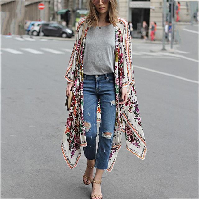 Japanese Kimono robe Cardigan Women Fashion Chiffon Street Casual Wear Floral Print Cover Up Beach Long Blouse v neck bat shirts 2