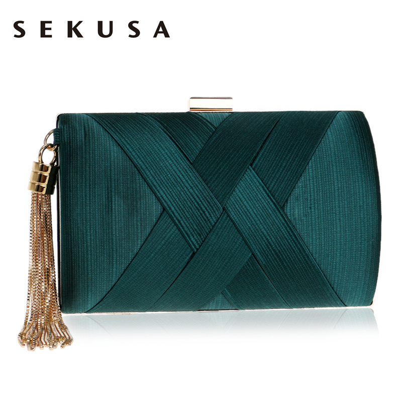 SEKUSA Clutch-Bag Handbags Chain-Shoulder Small Purse Tassel Day Classical-Style Metal
