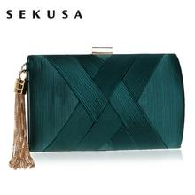SEKUSAใหม่มาถึงโลหะพู่เลดี้คลัทช์กระเป๋าไหล่โซ่กระเป๋าถือสไตล์คลาสสิกขนาดเล็กวันคลัทช์กระเป๋า
