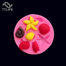 TTLIFE Starfish Conch Shell Silicone Mold Marine Life Fondant Cake Decorating Tool Pastry Chocolate Baking Mould Cookie Template ttlife 3pcs set geometry puzzle cookie cutter fondant cake biscuit mold sugarcraft decorating tool pastry chocolate baking mould
