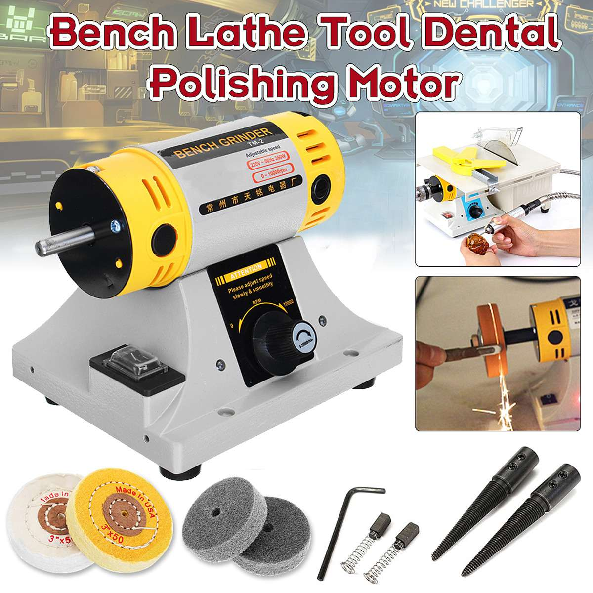 New 350W 220V Multi-purpose Mini Bench Grinder Polishing Machine Kit For Jewelry Dental Motor Lathe Bench Grinder Kit Set