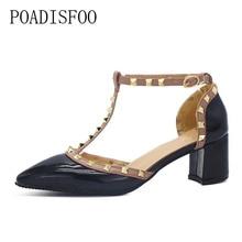 POADISFOO Новинка 2017 года женская обувь заклепками пряжки ремня полые туфли на высоком каблуке с острым носком туфли из лакированной кожи на высоком каблуке. XXXY-722