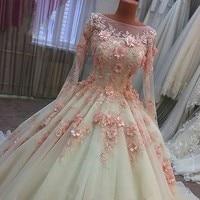 Luxury Vestidos de Noiva Ball Gown Wedding Dresses Long Sleeve Lace Wedding Gowns Pink 3D Flowers Bride Dress 2018 Gelinlik Boda