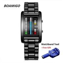 Бинарные BOAMIGO часы мужчины светодиодный цифровой часы водонепроницаемые нержавеющей стали мужские часы Кварцевые наручные часы Relogio мужчина для цифровой