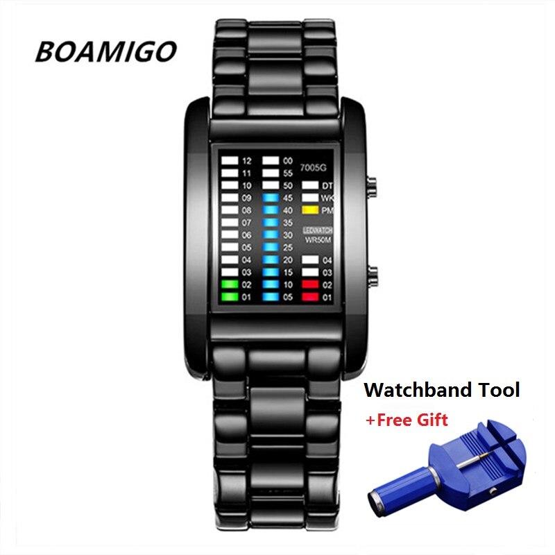 Brand BOAMIGO Binary Watch Men Waterproof LED Digital Watches