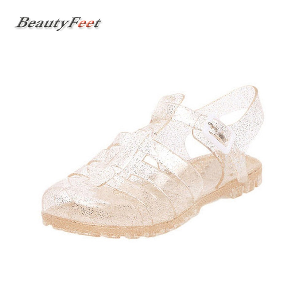 Beach Sandals Casual-Shoes Crystal Transparent Plastic Female Summer Solid Woman New
