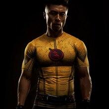 Cosplay Costume Reverse Flash 3D Printed T-shirts Men's Raglan Short Sleeve Superhero Compression Shirt Fitness Clothing Tops Ma