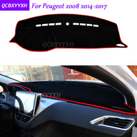 For Peugeot 2008 2014 2017 Dashboard Mat Protective Interior Photophobism Pad Shade Cushion Car Styling Auto