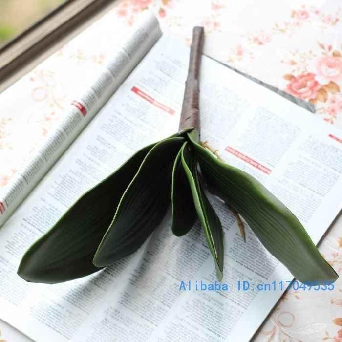 1 PCS Kunstmatige Groene vlinder orchidee Blad Plastic Bloem Leaf Thuis Wedding Party Decoration F11