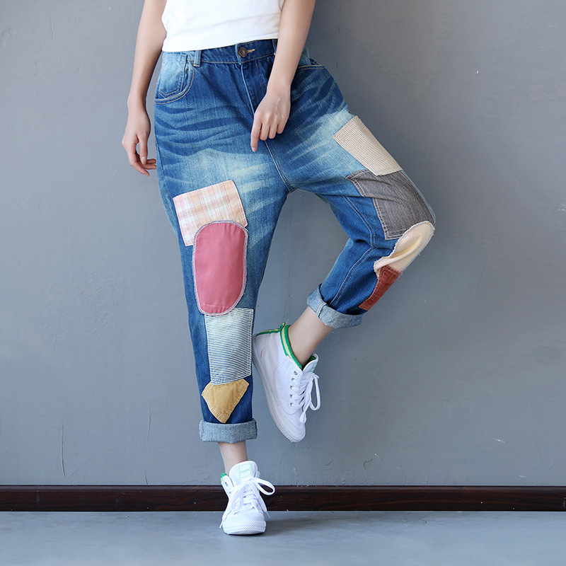 Women Spring Patchwork Denim Pants ladies Washed Zipper Pockets Vintage Bleached Denim Trousers Female Scratched Jeans