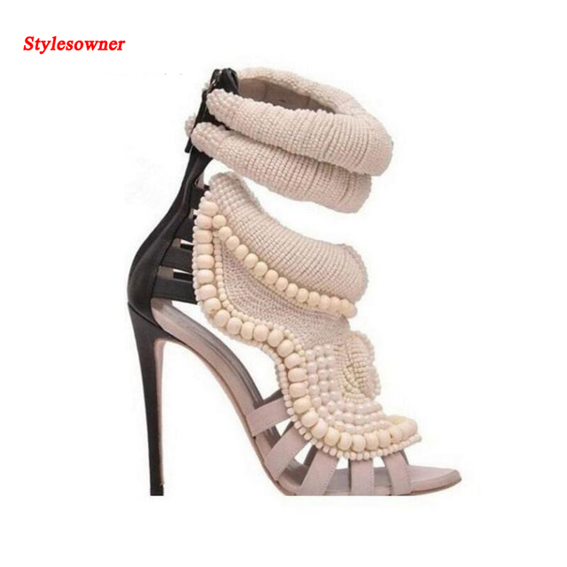 9b356363f228e Stylesowner Summer Sexy Peep Toe Handmade Pearl Beads High Heel Shoes  Gladiator Sandals Fashion Women Short Ankle Boots Sandal