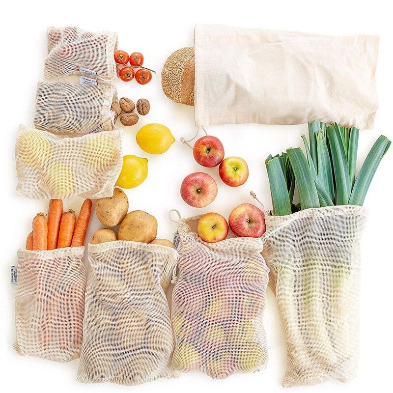 Reusable Produce Bags Natural Cotton Mesh Zero Waste Organic Cotton Mesh Produce Vegetable Bag Washable Drawstring
