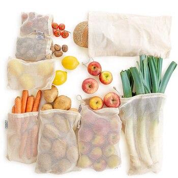 Reusable Produce Bags Natural Cotton Mesh Zero Waste Organic Vegetable Bag Washable Drawstring