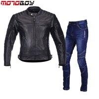 Бесплатная Доставка 1 компл. Мужская мотоциклетные кожаные куртки Теплый Светоотражающие Moto спортивные джинсы натуральной кожи мотоциклет