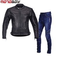 Free shipping 1set Mens Motorbike Leather Jacket Warm Reflective Moto Sports Jeans Cowhide Leather Motorcycle Jacket and Pants