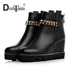 High Thick Heels Black Shoes Ridding Boots Round Solid Ankle Boots Woman Real Genuine Leather Ladies Shoes With Rivets