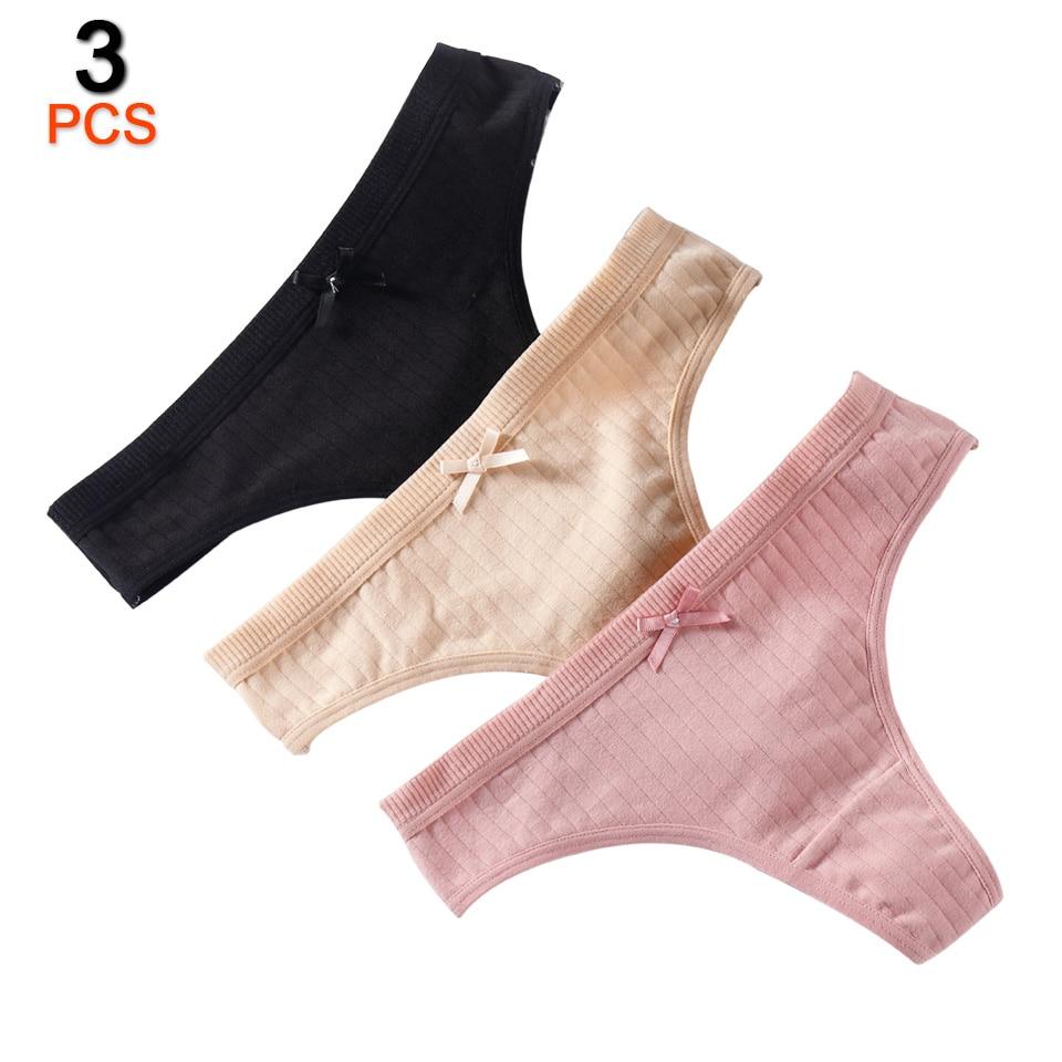 3Pcs/Lot Women Cotton Thongs And G Strings Seamless Panties Underwear Women's Sexy Panties Lingerie Ladies Tanga Female New Hot