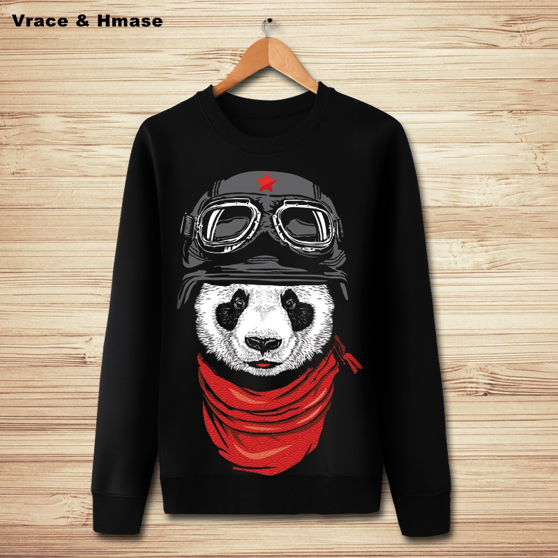 Chinese style cute 3D cartoon panda pattern fashion casual pullover hoddies Autumn&Winter New quality oversized sweatshirts men