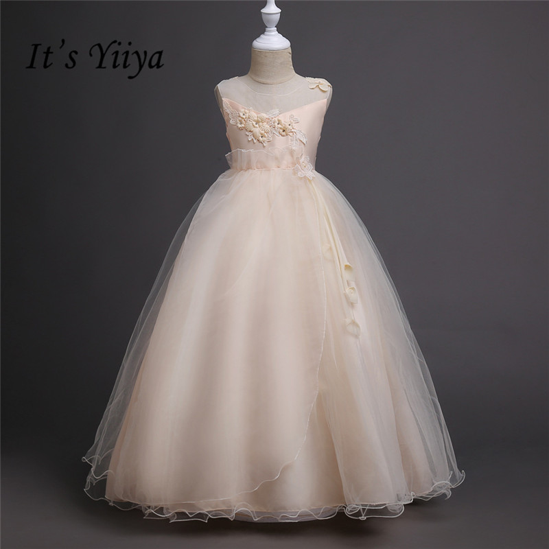 It's yiiya Hot Appliques Flower Girl Dresses White Princess Ball Grown O-neck Sleeveless Girls Dress TS139 v neck black white stripe sleeveless irregular dress