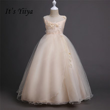 Это yiiya Горячие аппликации для девочек в цветочек платья Белый Принцесса бальное с круглым вырезом Платье для девочек без рукавов TS139