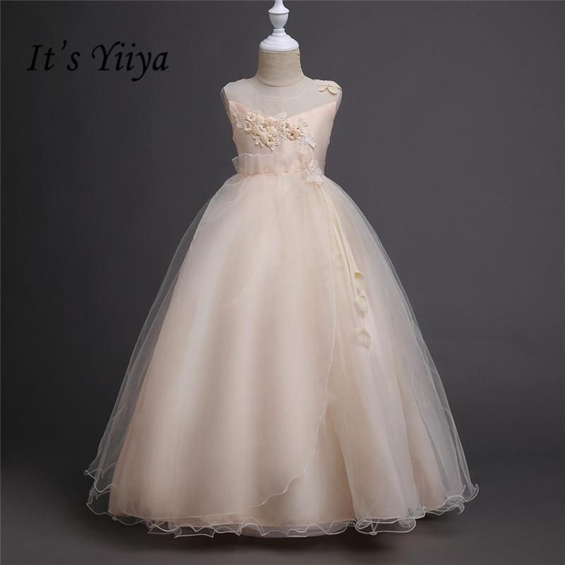 It's yiiya Hot Appliques   Flower     Girl     Dresses   White Princess Ball Grown O-neck Sleeveless   Girls     Dress   TS139