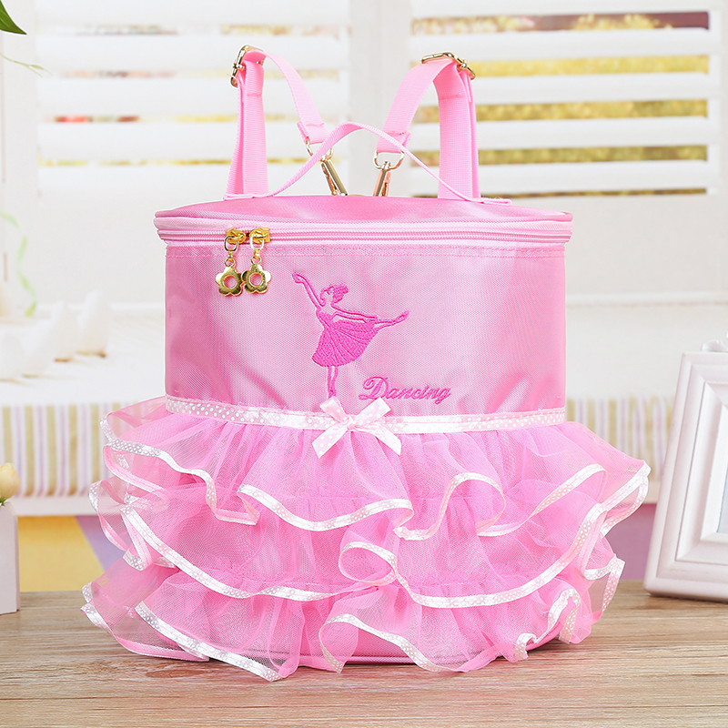 Child Tutu Bag Children Girls Ballet Dance Bag Backpack Canvas Dancing Ballerina Printing Ribbon Ruffles Dance Bags For Kids