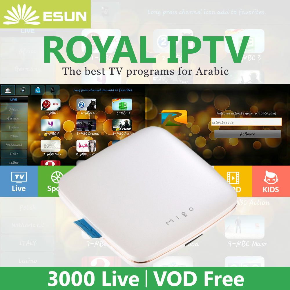 Royal IPTV with ipremium Migo Stalker 4K Ultra HD H.265 Android TV Box vod Arabic Europe IPTV ROYALTV arabic movies Super stable ipremium ulive pro tv box android 8gb 4k ultra h 265 tv receiver with mickyhop os and stalker middleware support 10 url adding