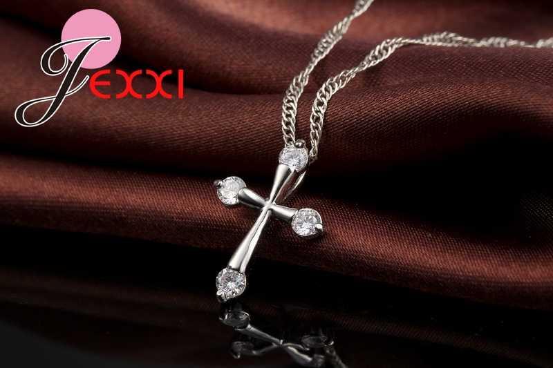 Pecinta Hadiah Terbaik Elegan Sederhana 925 Sterling Silver Rantai Cross Kalung untuk Wanita Hadiah Terbaik Gratis Pengiriman