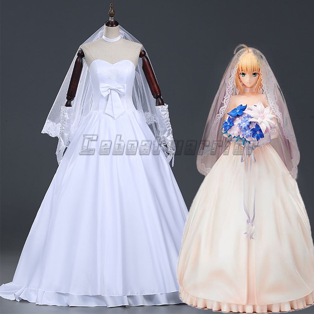 Fate Stay Night Or Fate Zero Saber White Wedding Dress Cosplay Costume Custom Made